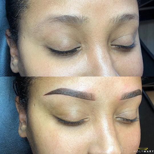 powder brows, ombre brows